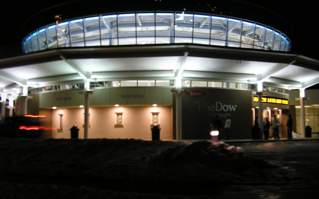 The Dow Event Center Outside at Night